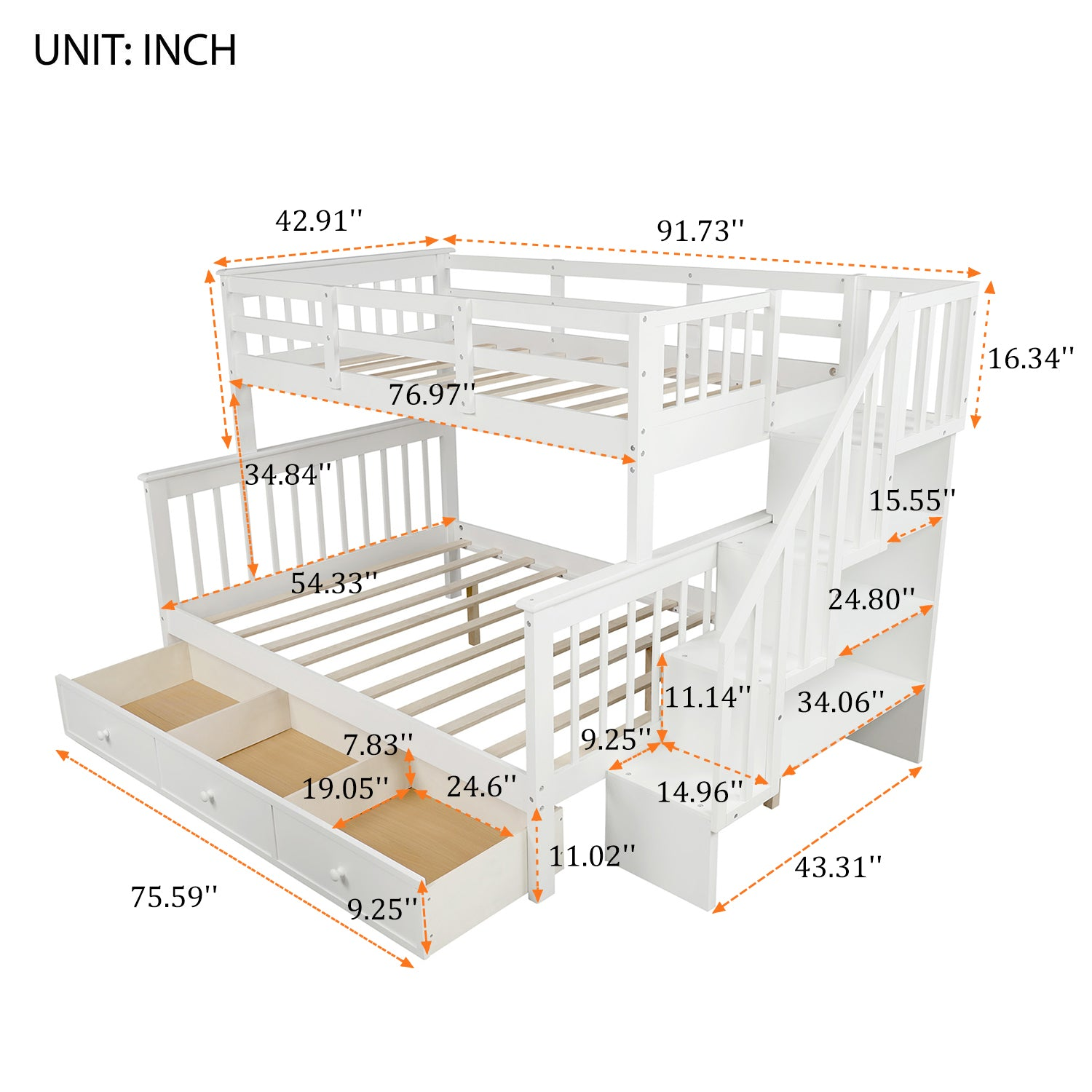 Twin Over Full Bunk Bed with Drawers For Kids