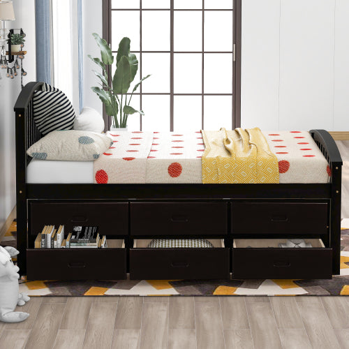 Twin Platform Storage Bed With 6 Drawers
