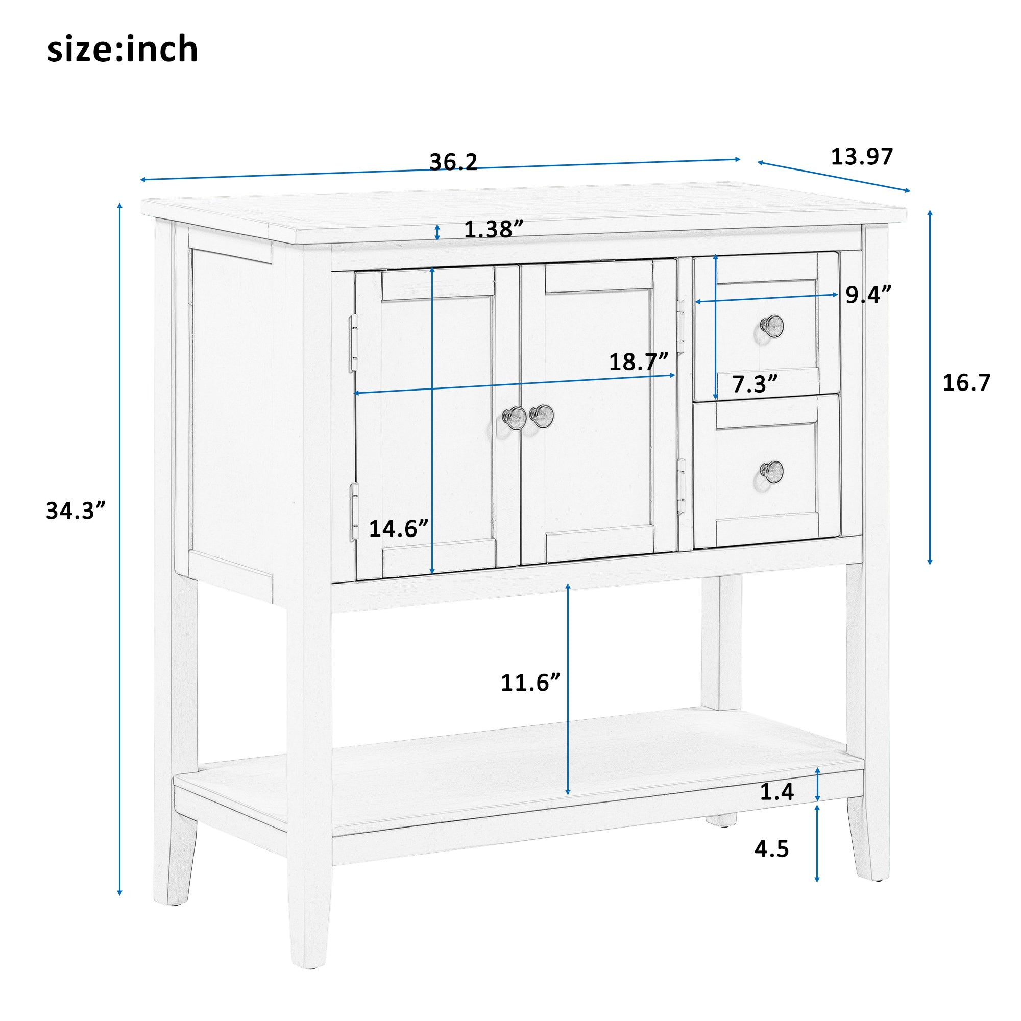 36'' Modern Console Table With 2 Drawers