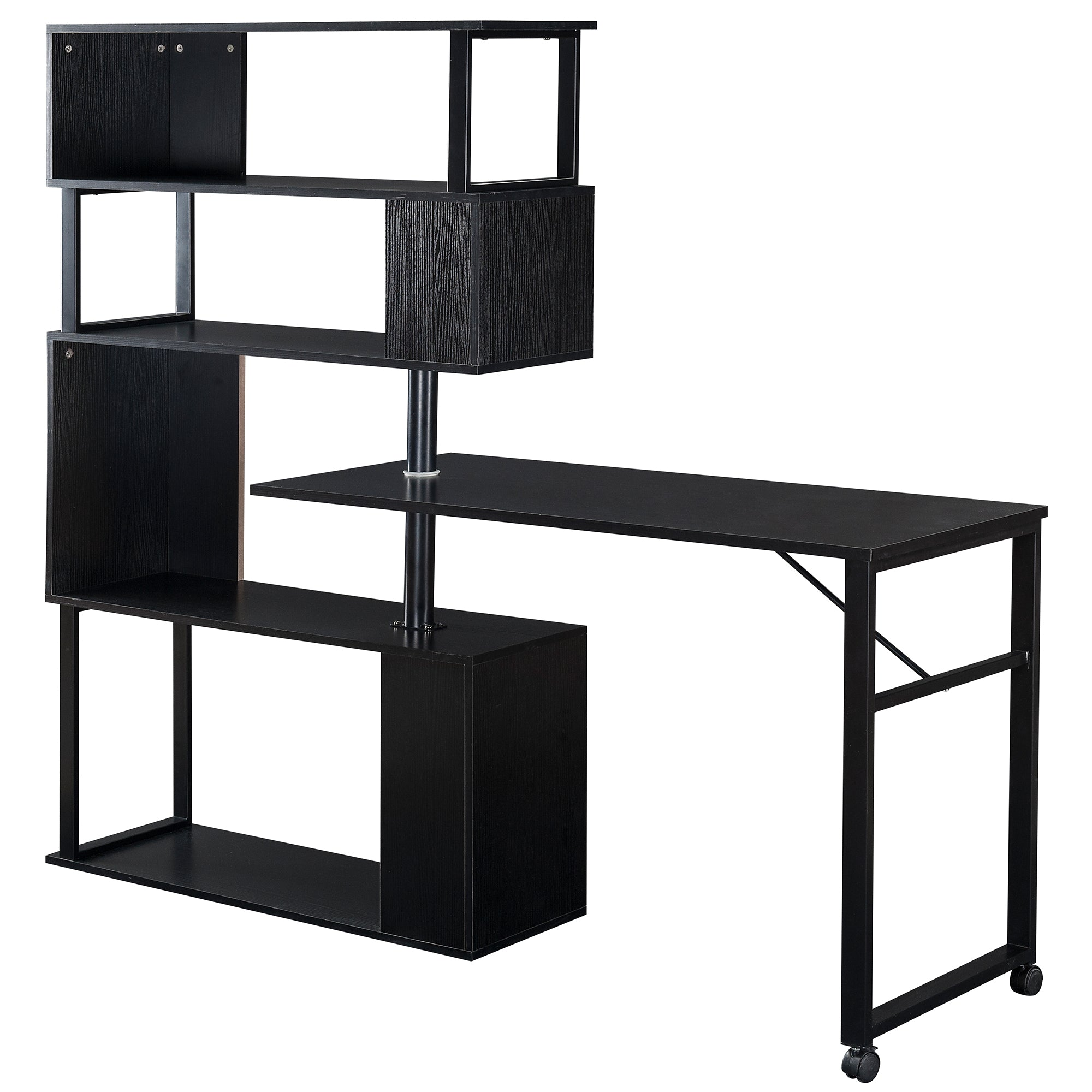 L-Shaped Corner Computer Table With 5-Story Bookshelf