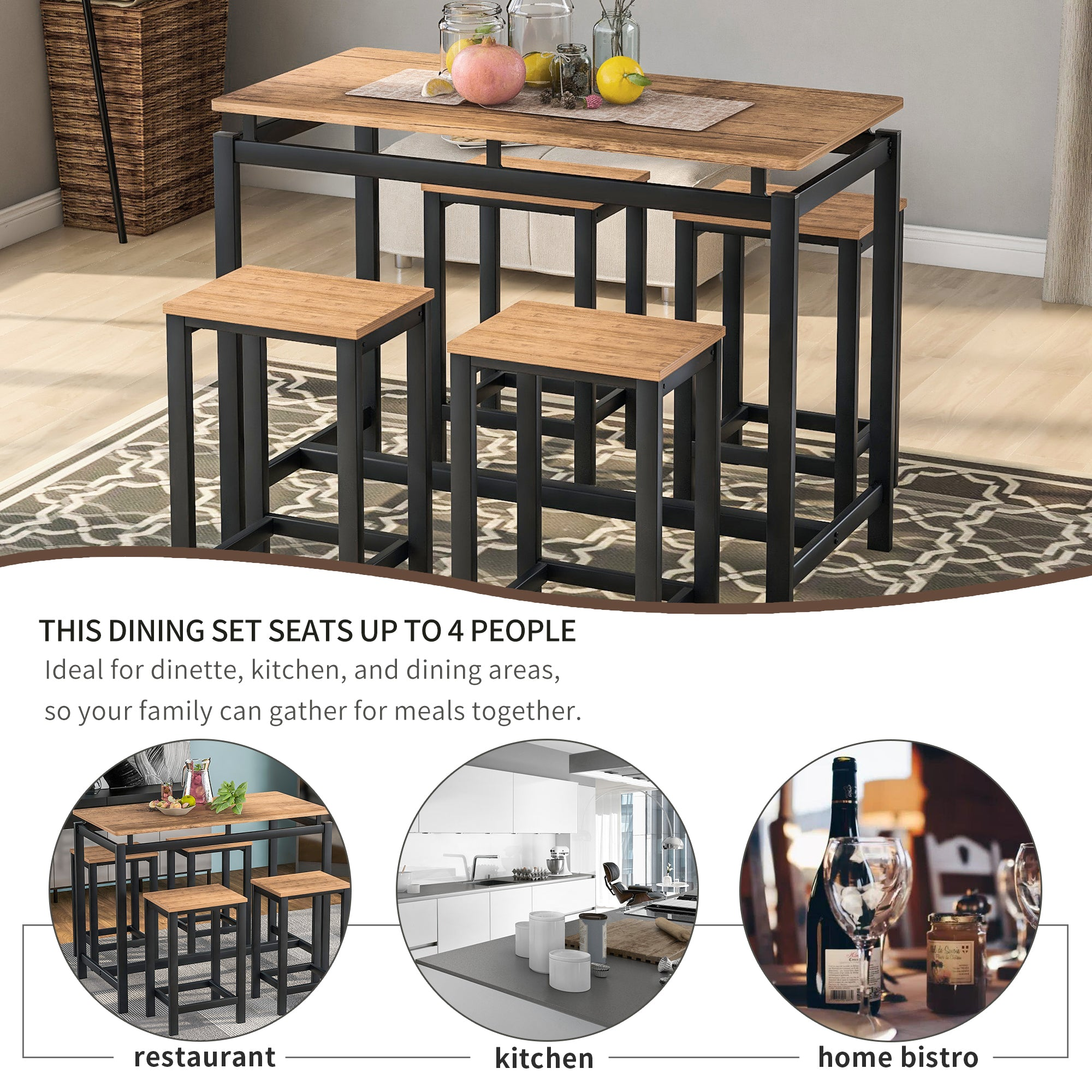 Modern 5 Piece Kitchen Counter Height Dining Set