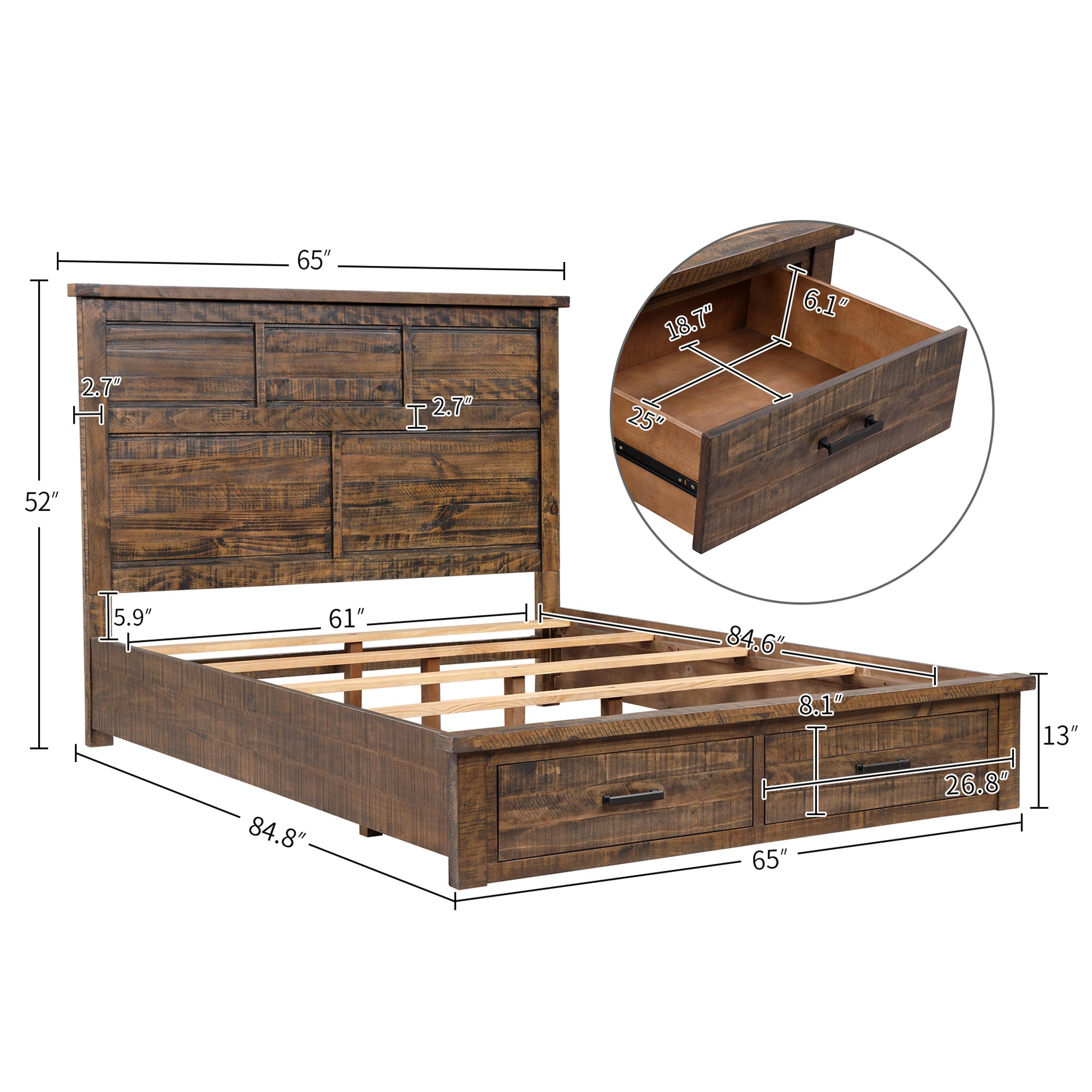 Pine Wood 3 Pieces Storage Queen Bedroom Sets