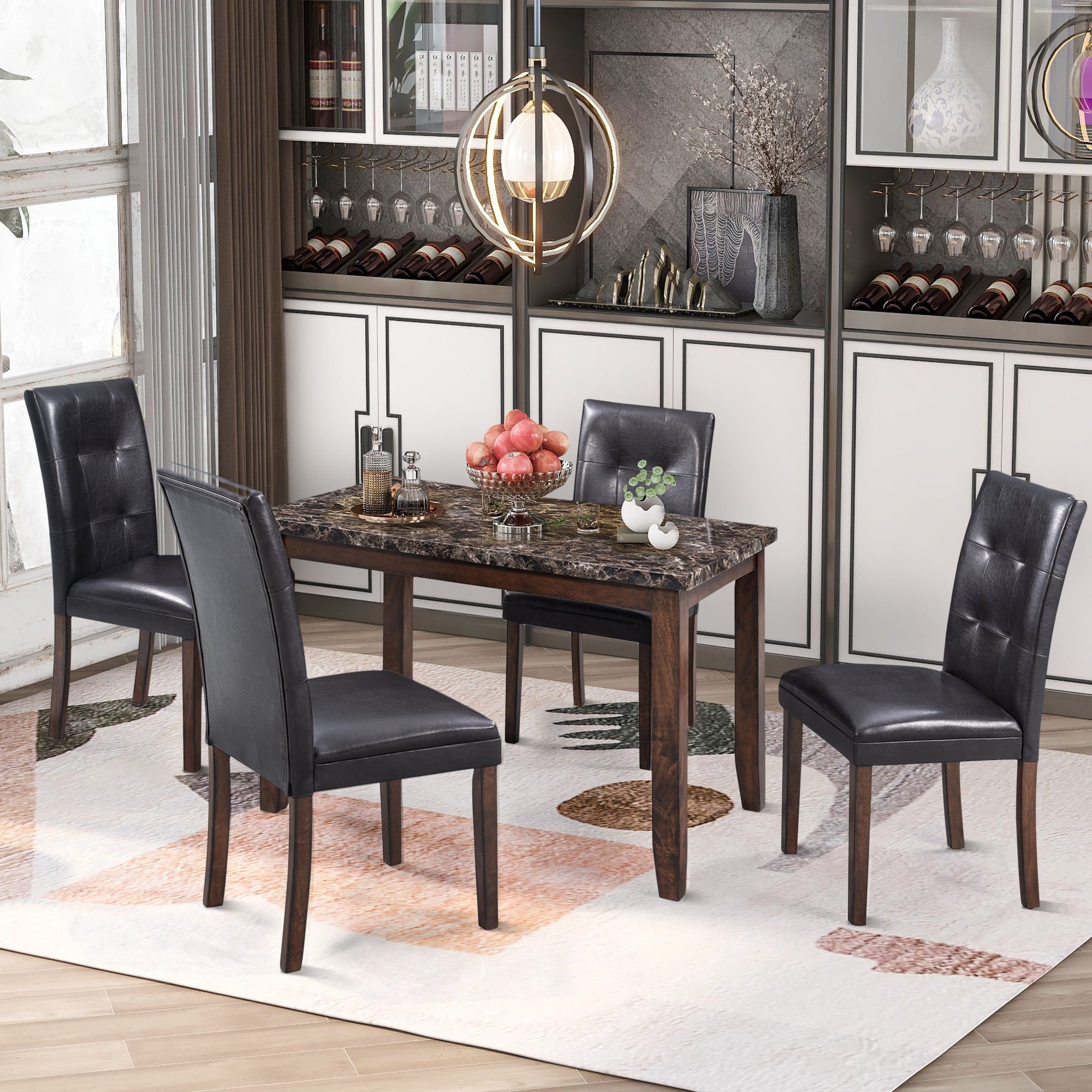 Marble 5-Piece Dining Set Table with 4 Thicken Chairs