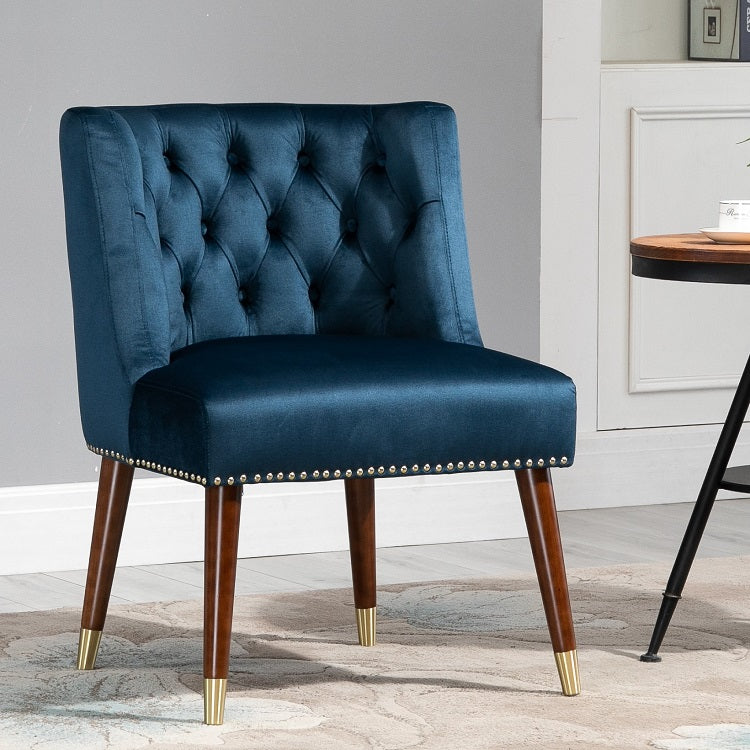 Velvet Accent Wood Legs Chair (Set Of 2)