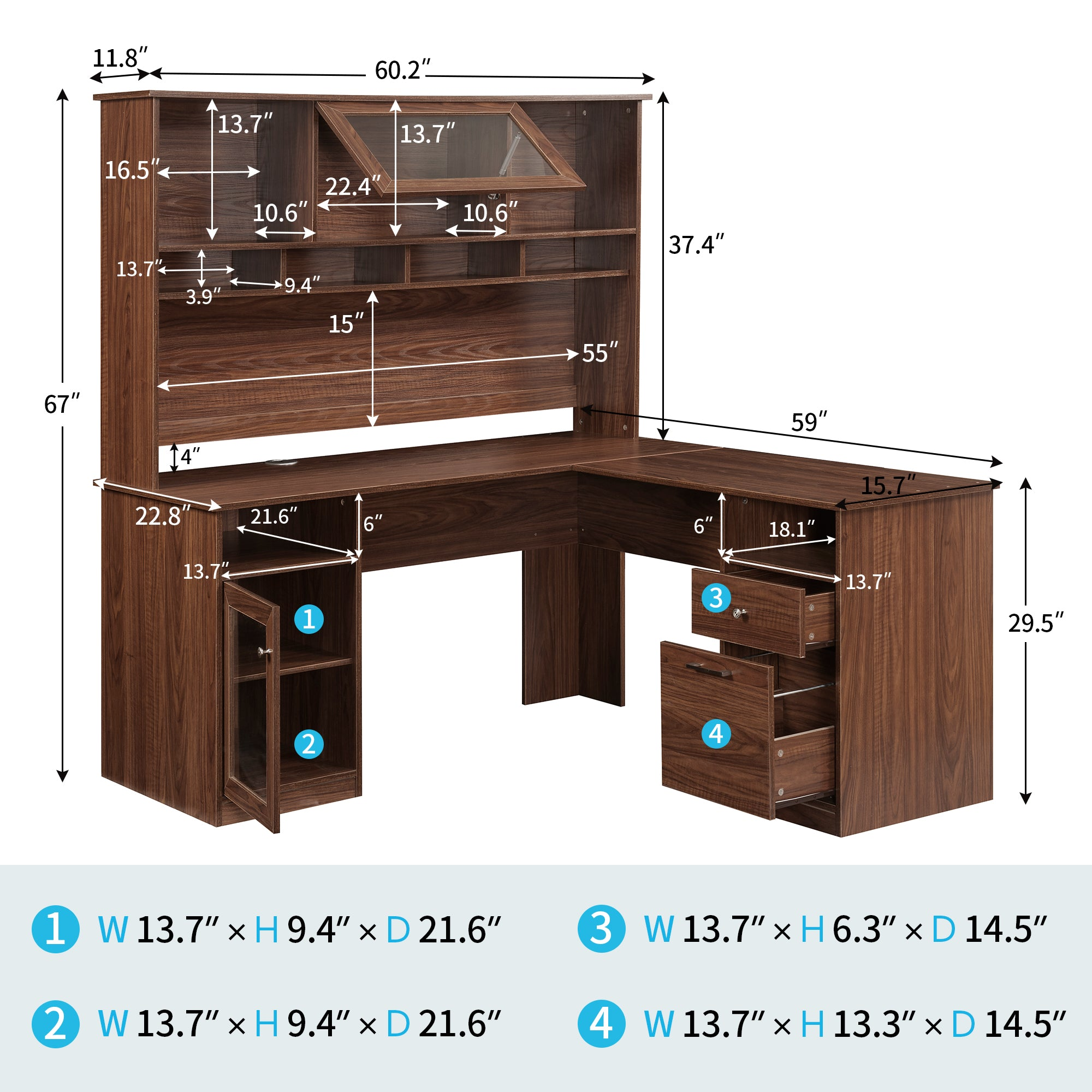 L-shaped Office Desk with Hutch
