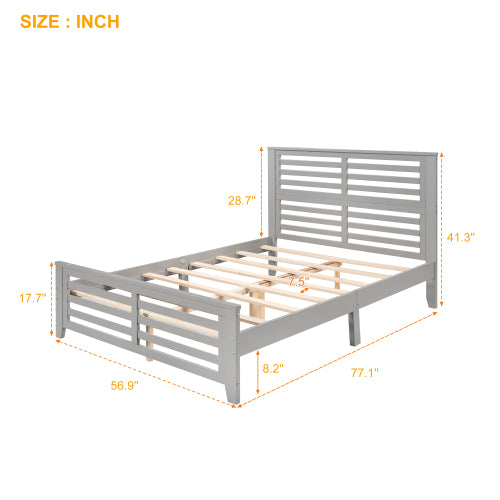 Platform Bed With Horizontal Strip Hollow Shape
