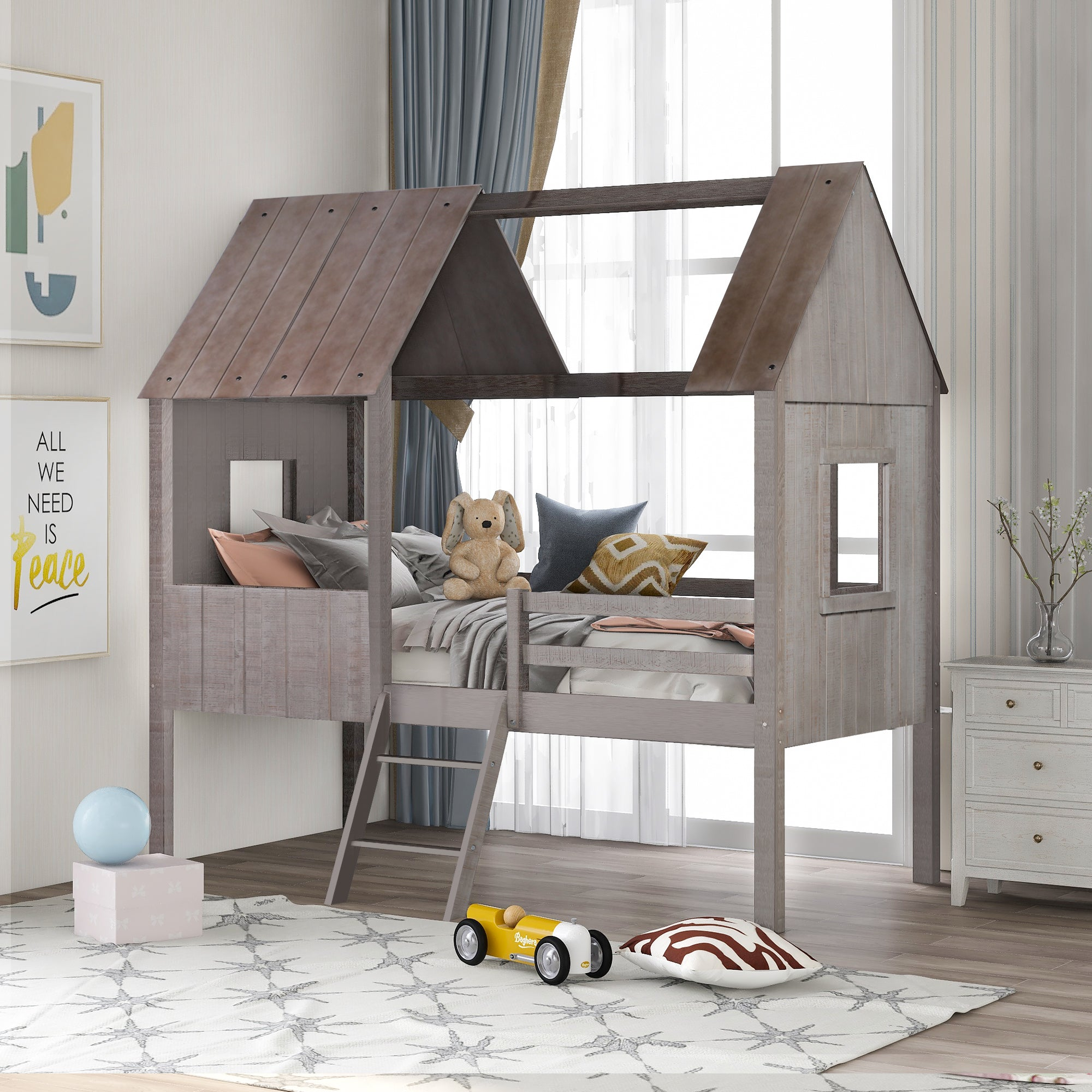 Low Loft Wood House Twin Size Bed