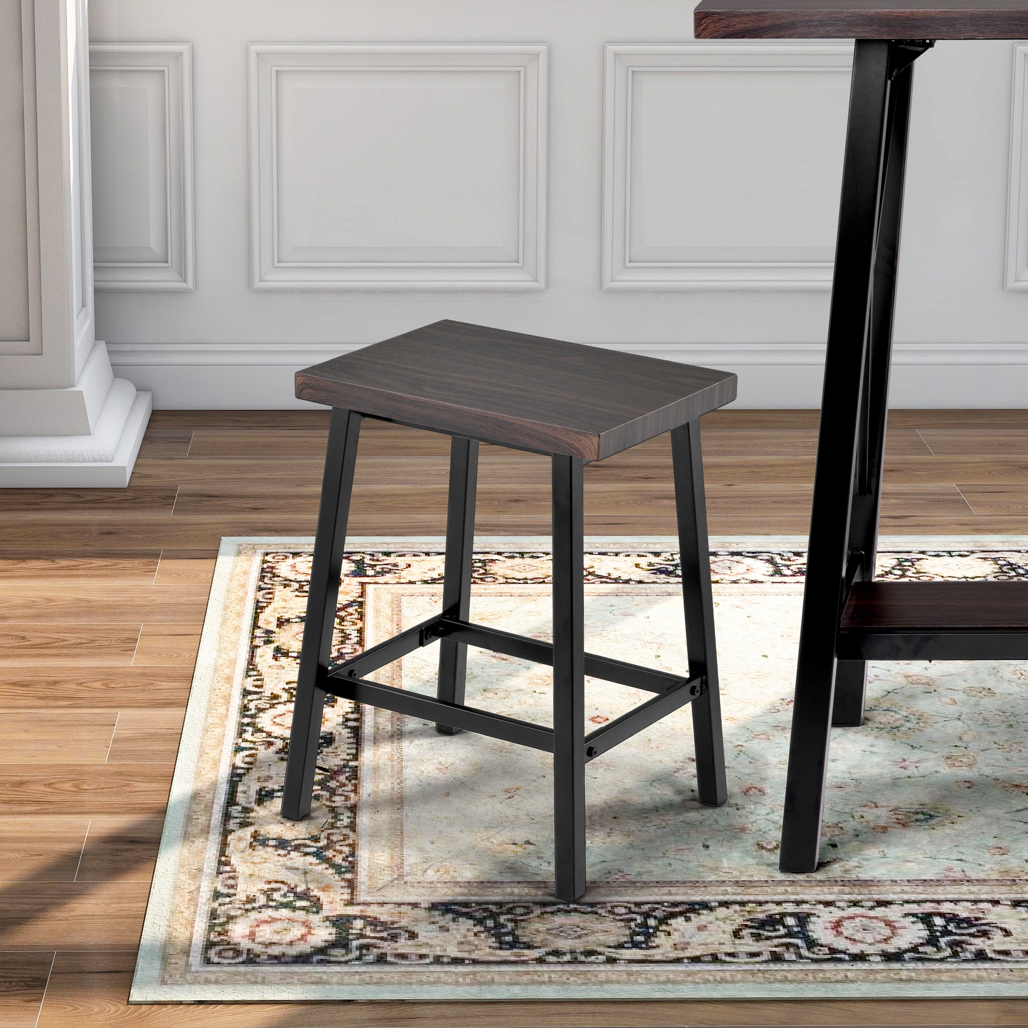Espresso Counter Height Bar Table with 4 Bar Stools