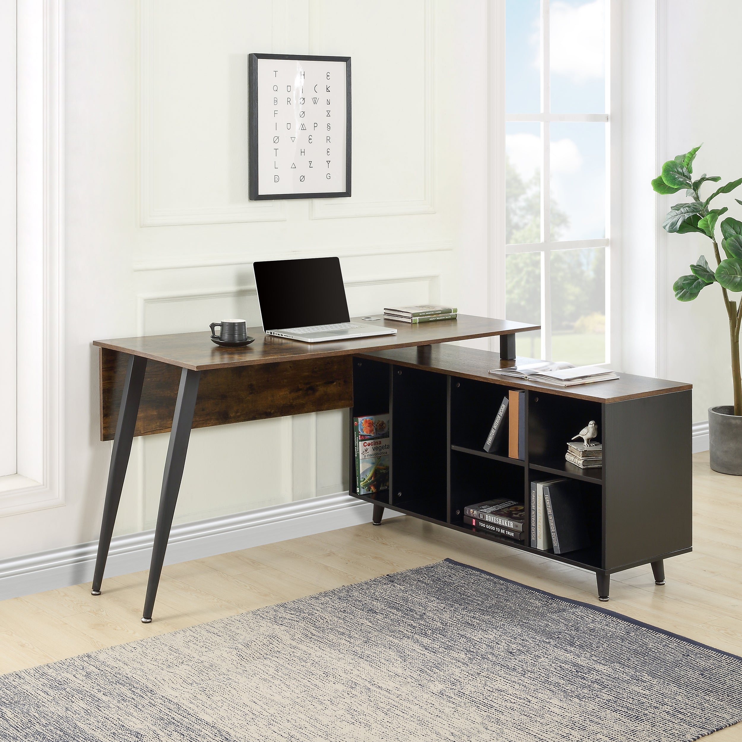 L-Shaped Computer Desk with Storage Shelves