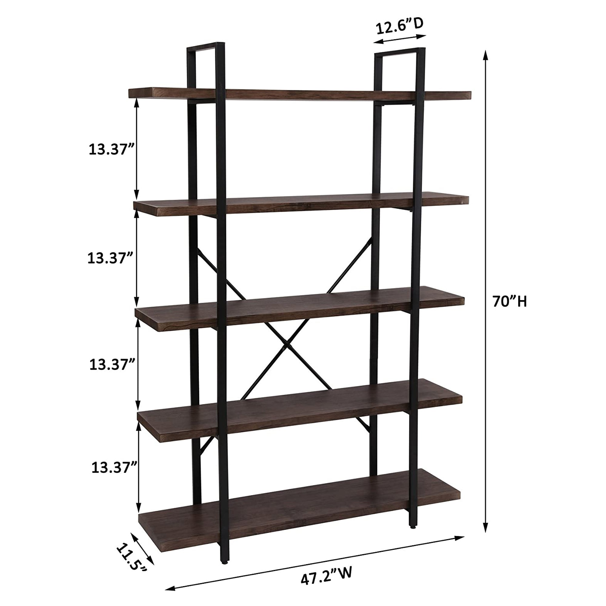 Vintage Industrial Style 5-Shelf Bookcase