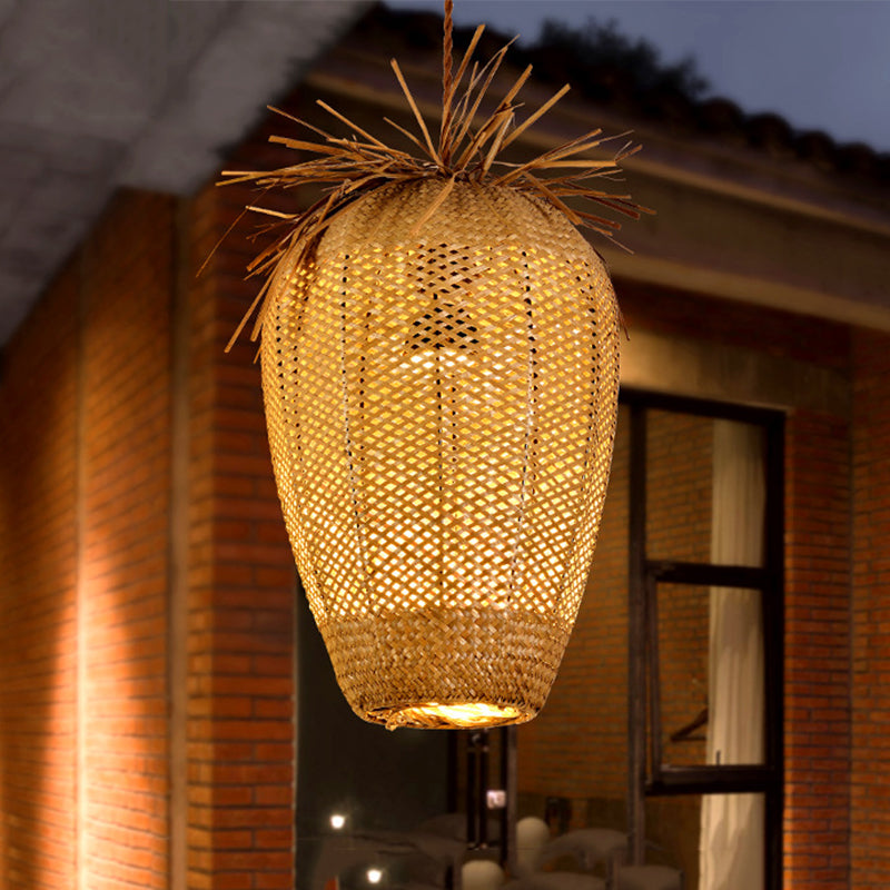 Vintange Rattan Wicker Pendant Light Lampshade