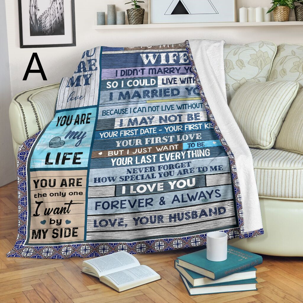 To My Wife - Sweet Fleece Blanket From Husband
