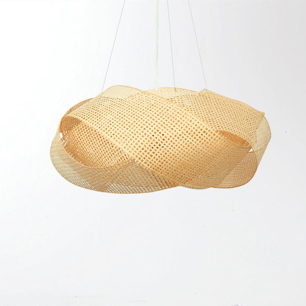 Grid Farmhouse Pendant Lighting Cloude Bamboo Hanging Lamp