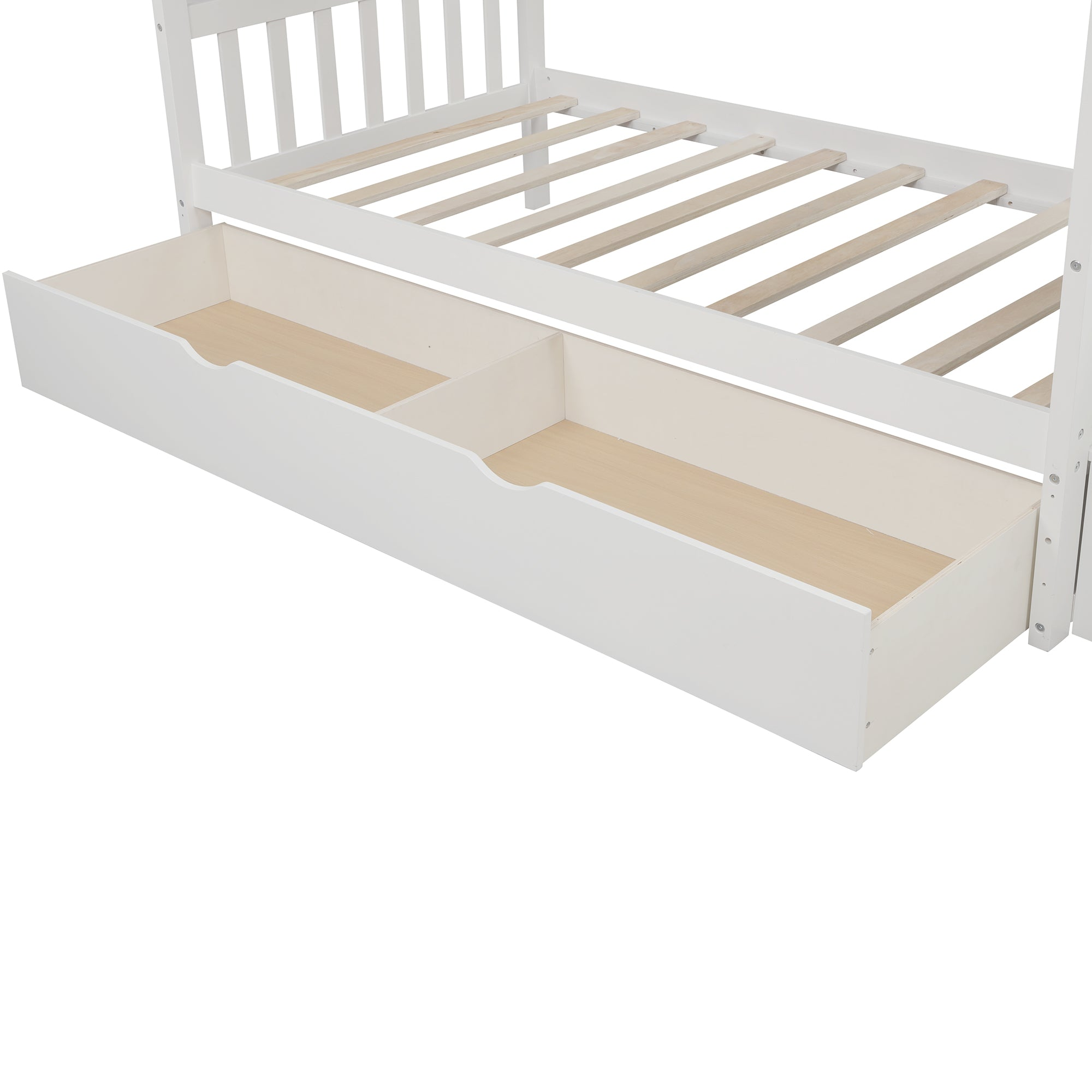 Twin Over Full Bunk Bed with Shelves and 2 Drawers