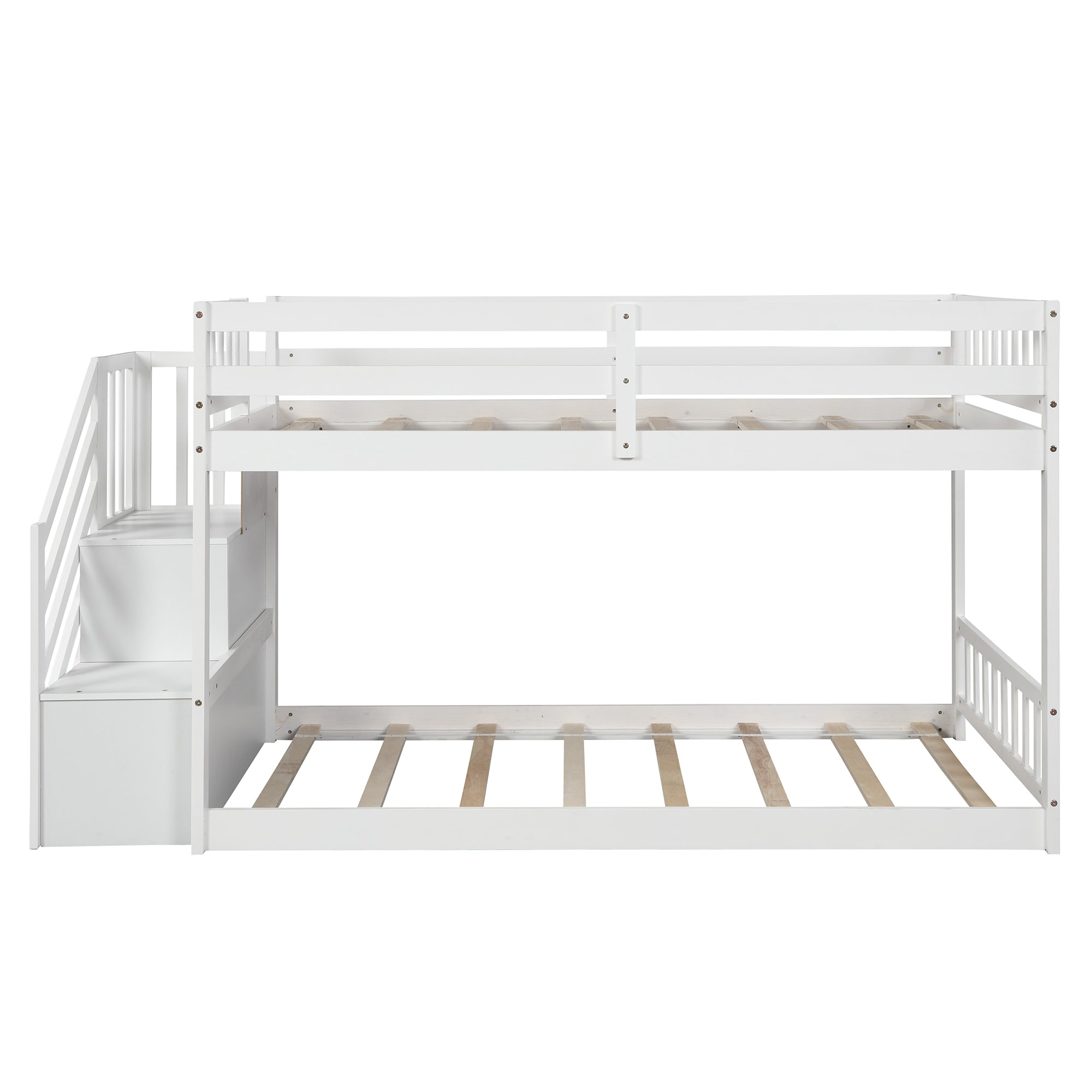 Twin Over Twin Floor Bunk Bed With Stairs And Storage Shelves