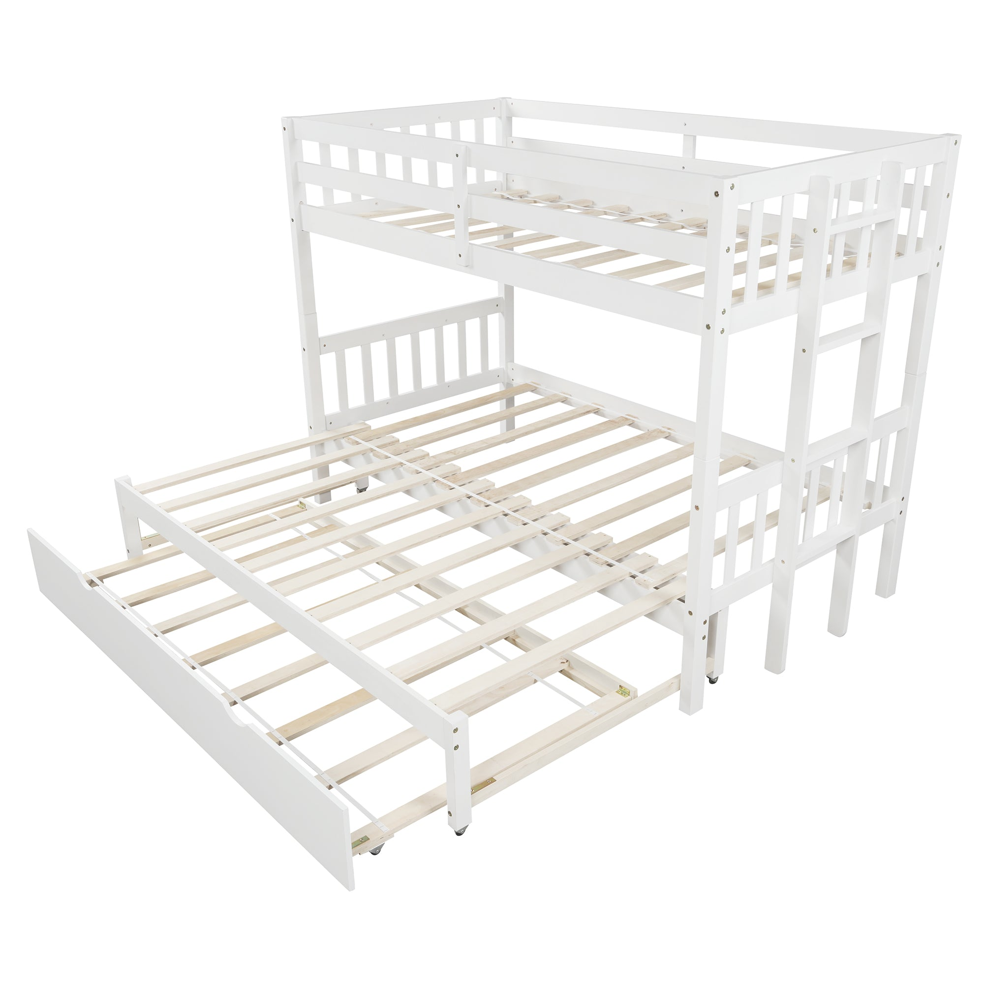 Twin Over Pull-Out Triple Bunk Bed with Trundle