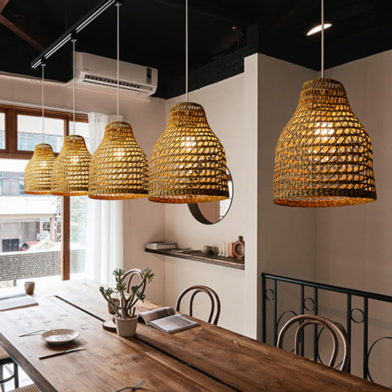Country Drum Rattan Pendants Lamp Shades