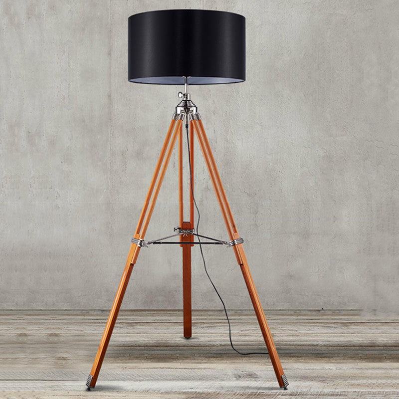 Nordic Black Wood Tripod Floor Lamp Modern Floor Lights