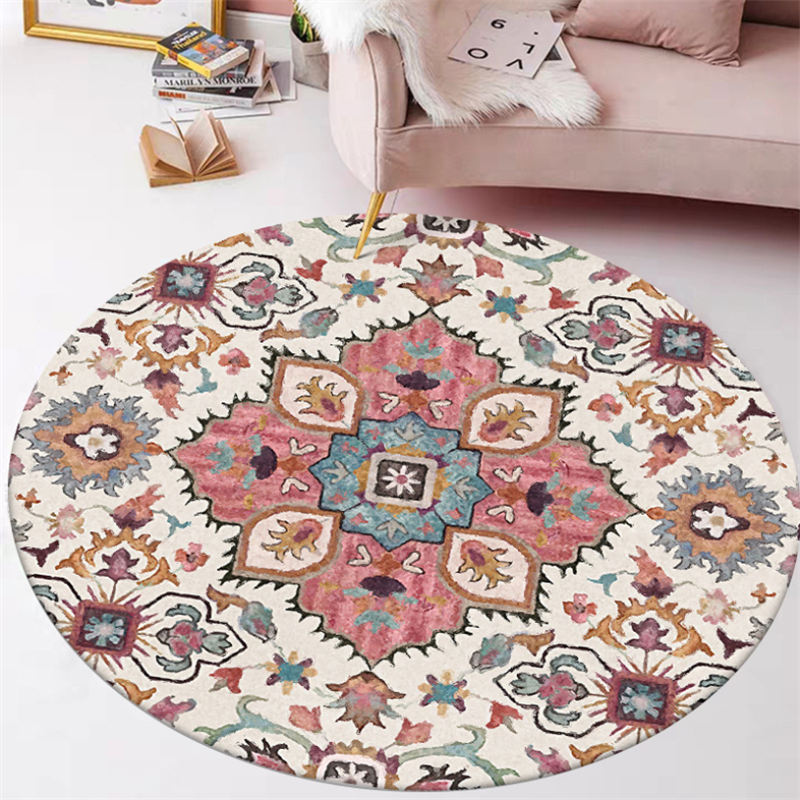 Ethnic Style Flower Pattern Round Carpet Rugs For Children Rooms