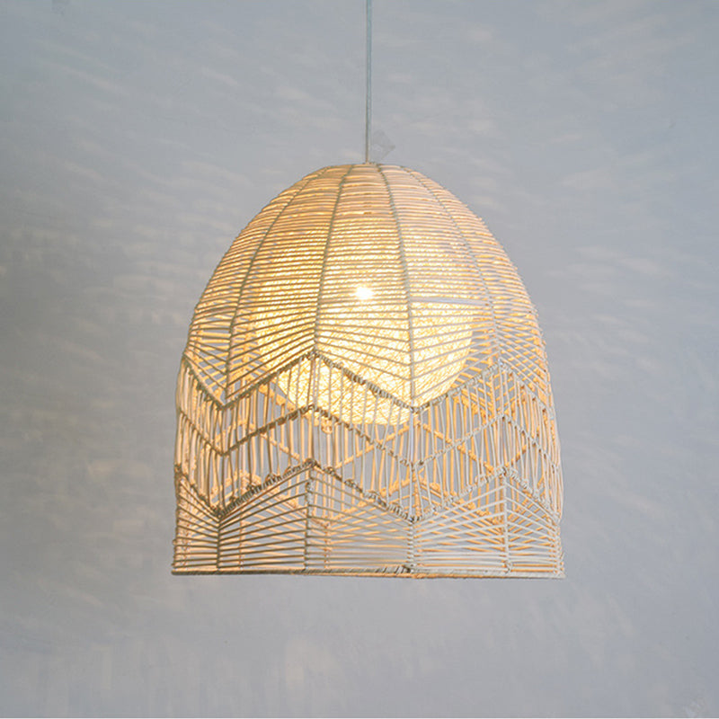 Two Layers Country Basket Rattan Pendant Lighting Shades