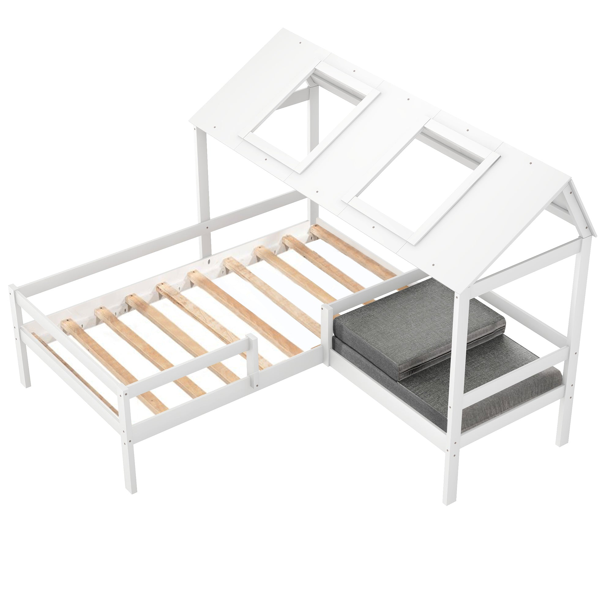 Twin Size House Bed with Relax Seat For Kids