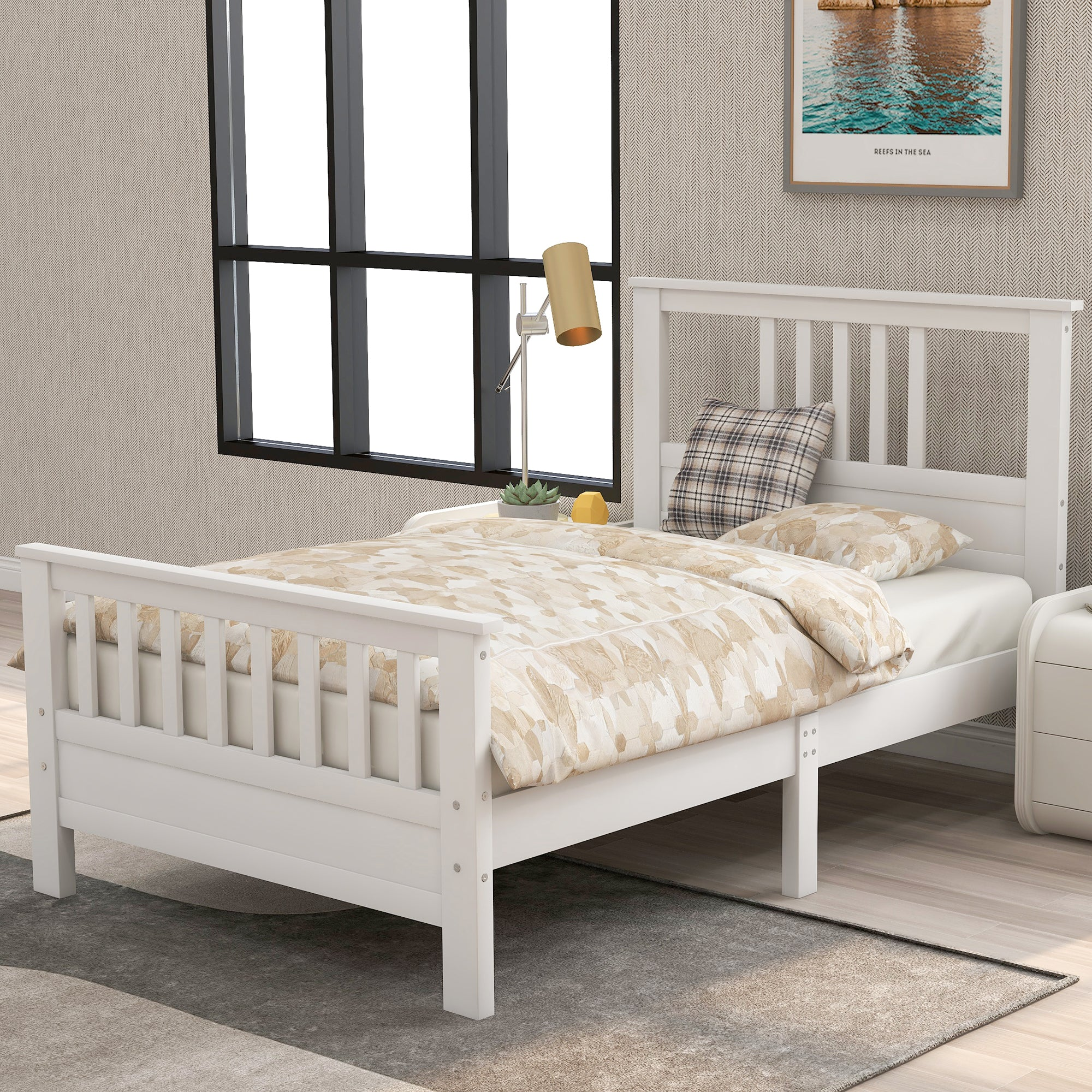 Wood Platform Bed With Headboard And Footboard