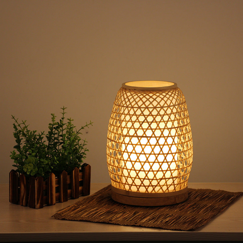 Handmade Japanese Bamboo Bedroom Table Lamp