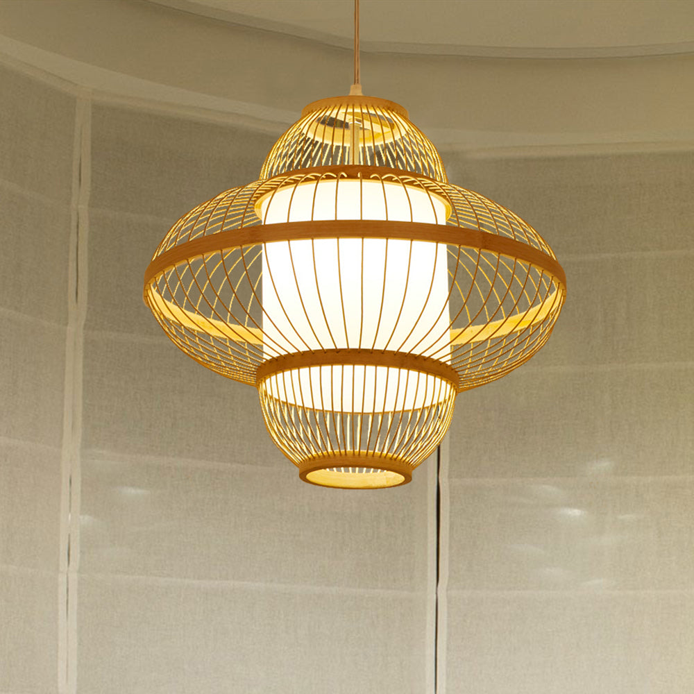Parchment Inside Wicker Pendant Light