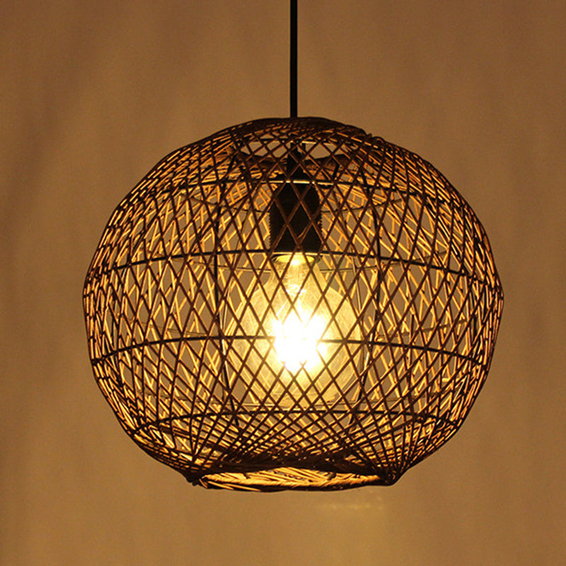 Handmade Rattan Woven Pendant Lamp Led Light