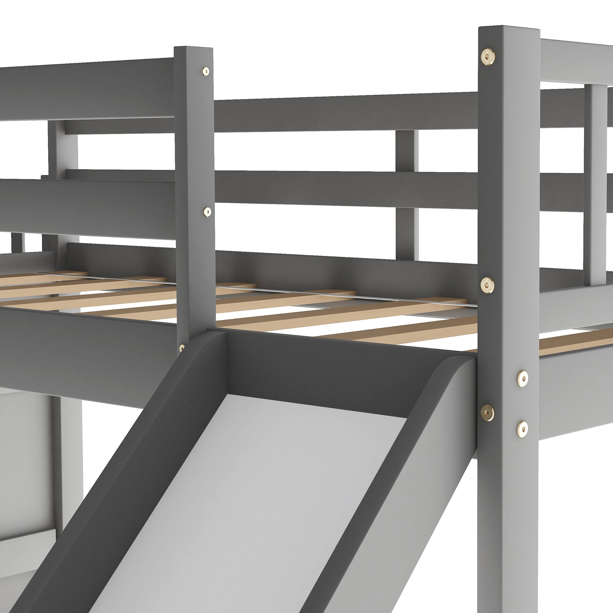 Twin Over Twin Bunk Bed with Convertible Slide