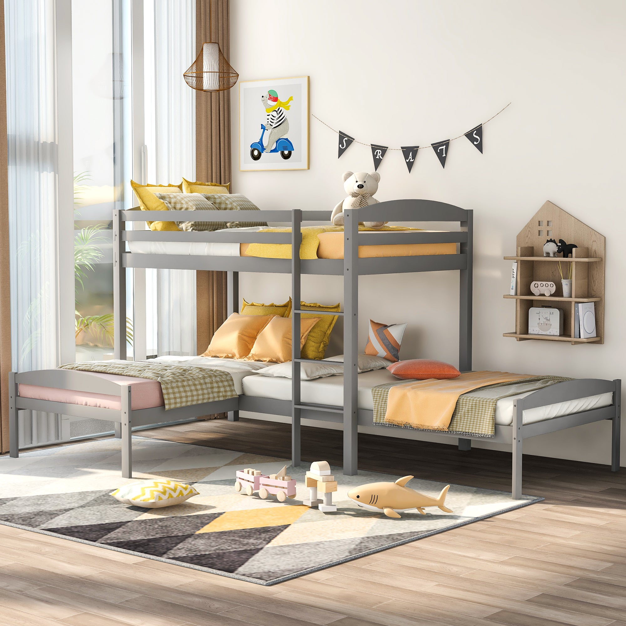 L-shaped Twin Over Twin Bunk Bed For Kids and Teens