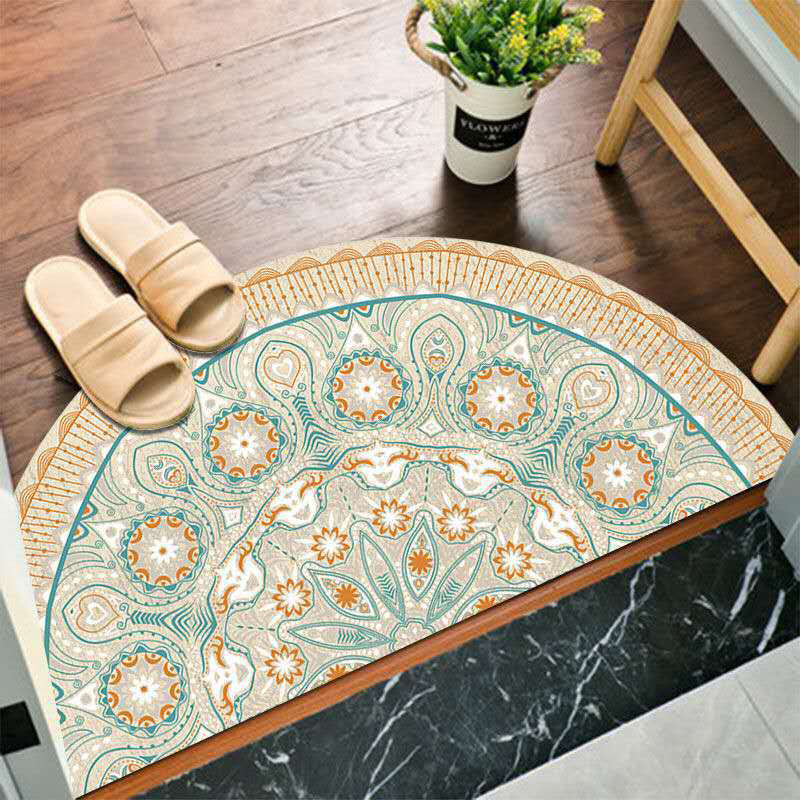 Boho Half Round Anti Slip Entrance Floor Mat