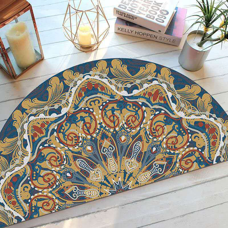 Enthnic Style Anti Slip Floor Mat Half Round Entrance Doormat