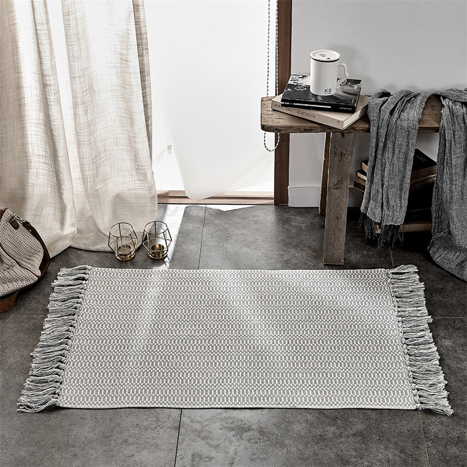 Gray Cotton And Linen Tassel Woven Carpet