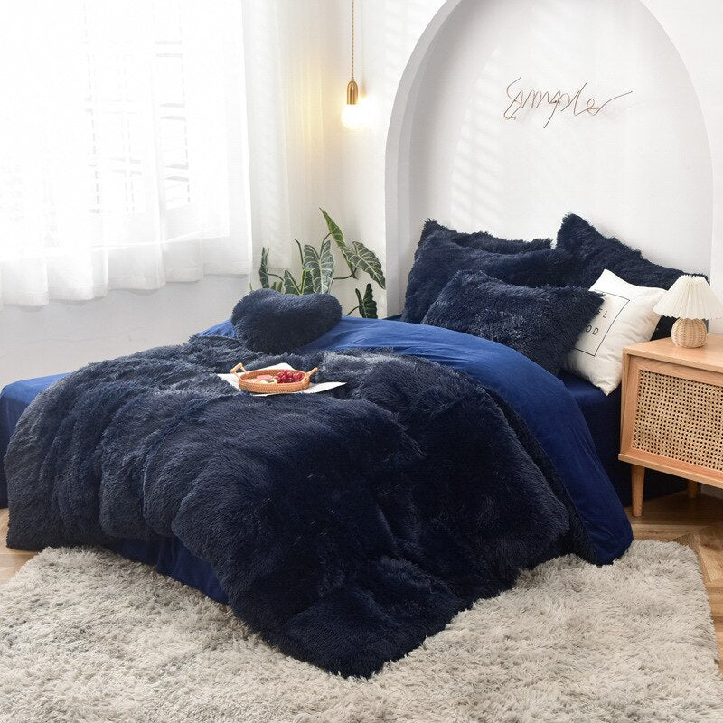 Plush Winter Bedding Set Mink Velvet Duvet Cover Bed Sheet Pillowcases