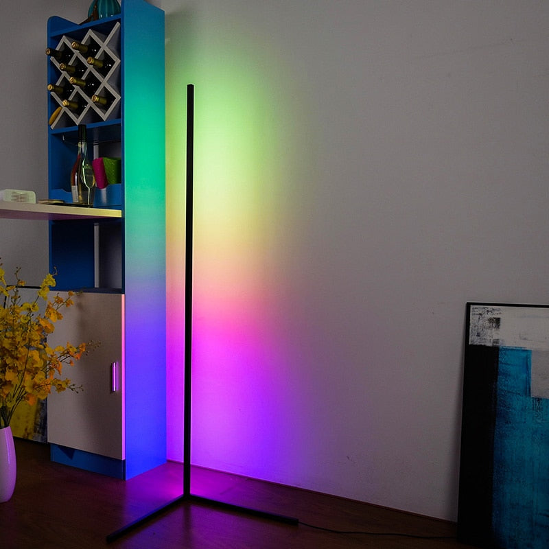 Modern RGB Corner Floor Lamp Simple LED Rod Stand Lamps for Living Room