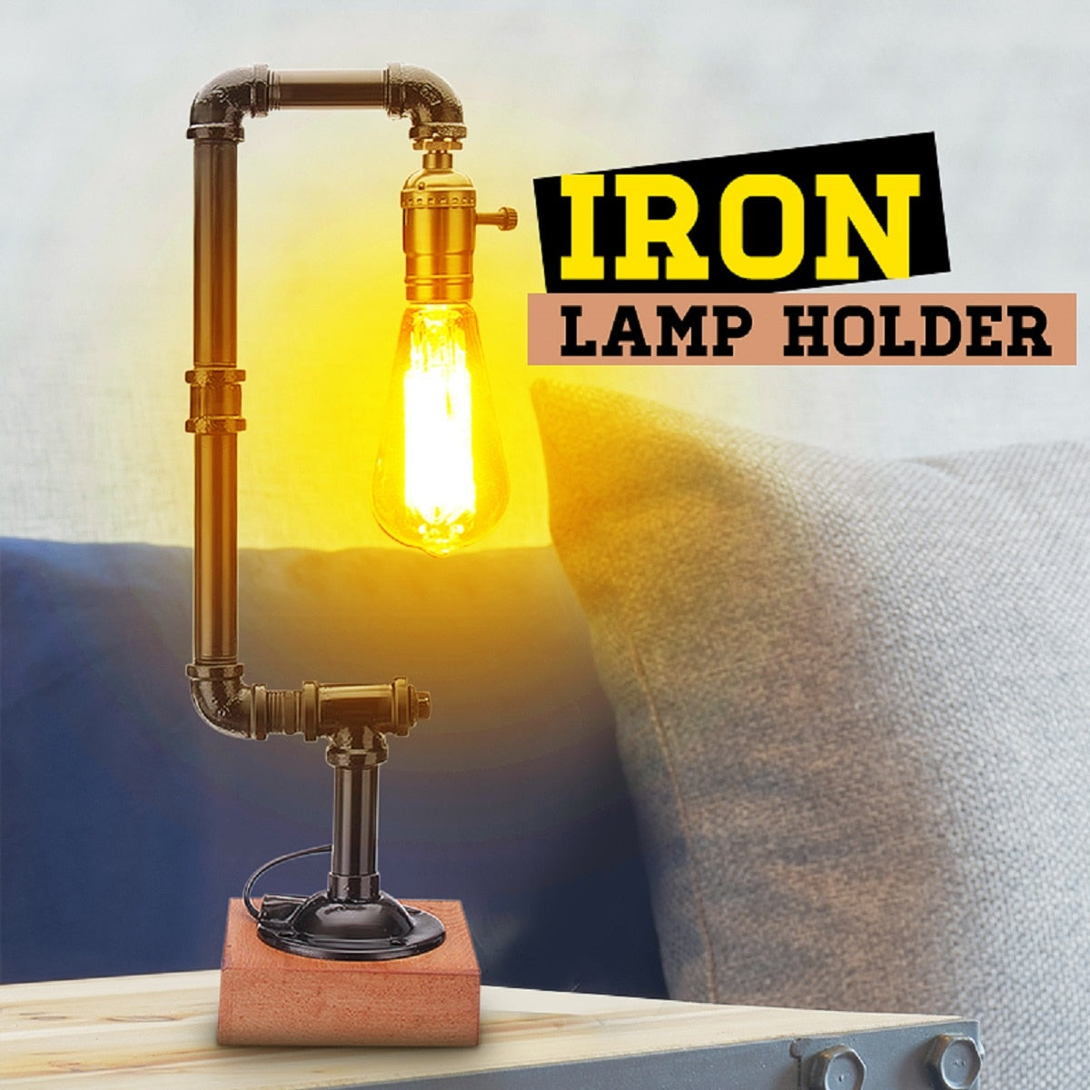 Industrial Pipe Table Lamp LED Desk Lamp Lantern Fixture