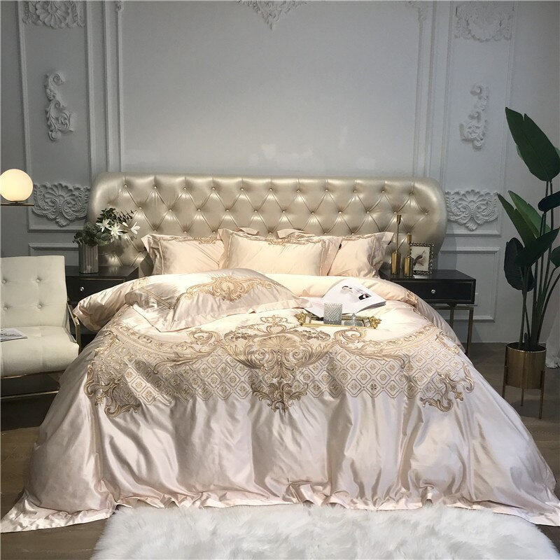 Luxury Silk Gold Embroidery European Palace Bedding Set