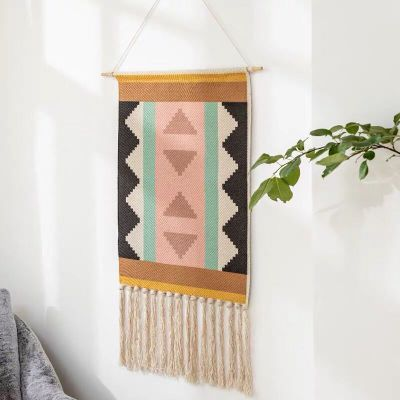 Bohemian Linen Tapestry with Tassel Handmade Wall Decor Hanging Tapestry