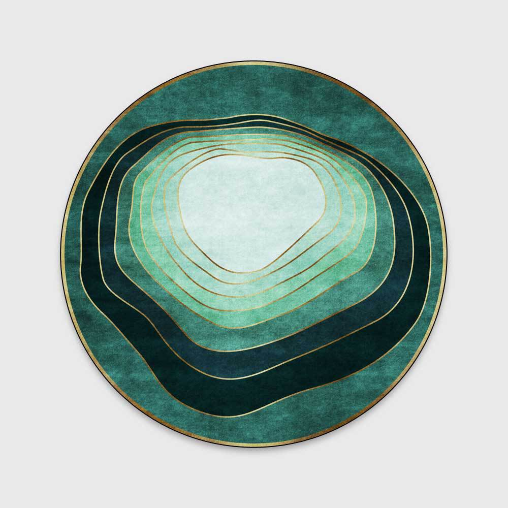 Minimalist Green Round Rugs Abstract Circle Striped Carpets