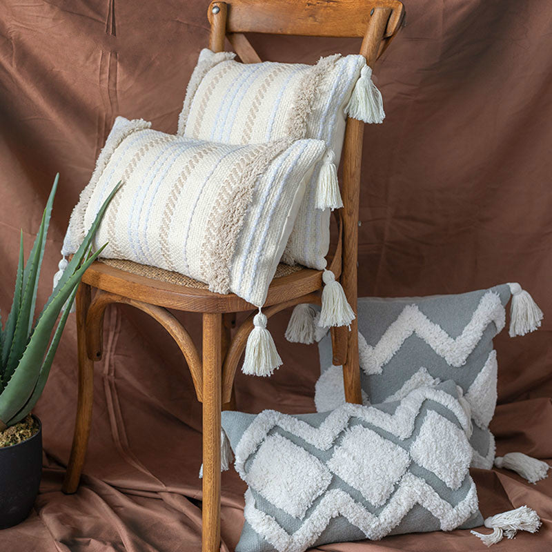 Minimalist Tufted Tassel Morocco Gray Seat Cushion Pillowcase