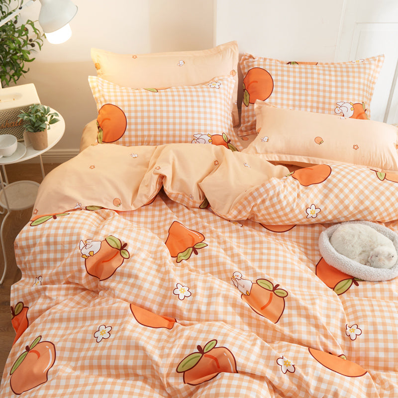 Cute Peach Duvet Cover Set Pillowcase Bedding Set For Girl