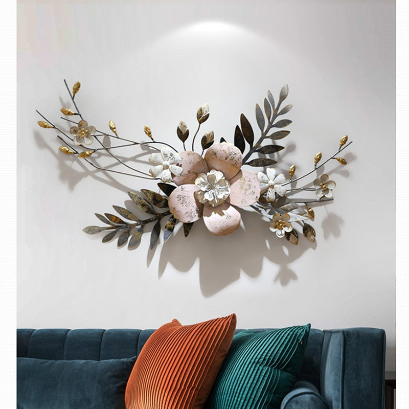 Modern 3D Simulation Flowers Plant Wall Mural Crafts Decoration