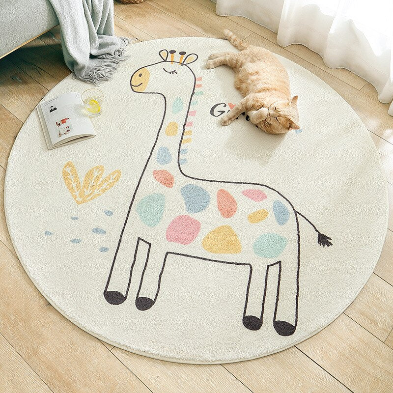 Cartoon Round Home Living Room Carpet Bedside Rugs Baby Crawling Mat
