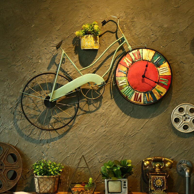 Retro Bike Wall Clock Mural Hanging Wall Clock Home Decoration