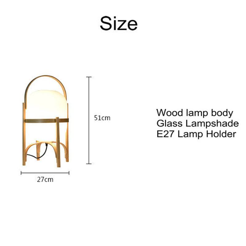 Japanese Natural Wood Glass Table lamp Bedroom Bedside Lamp