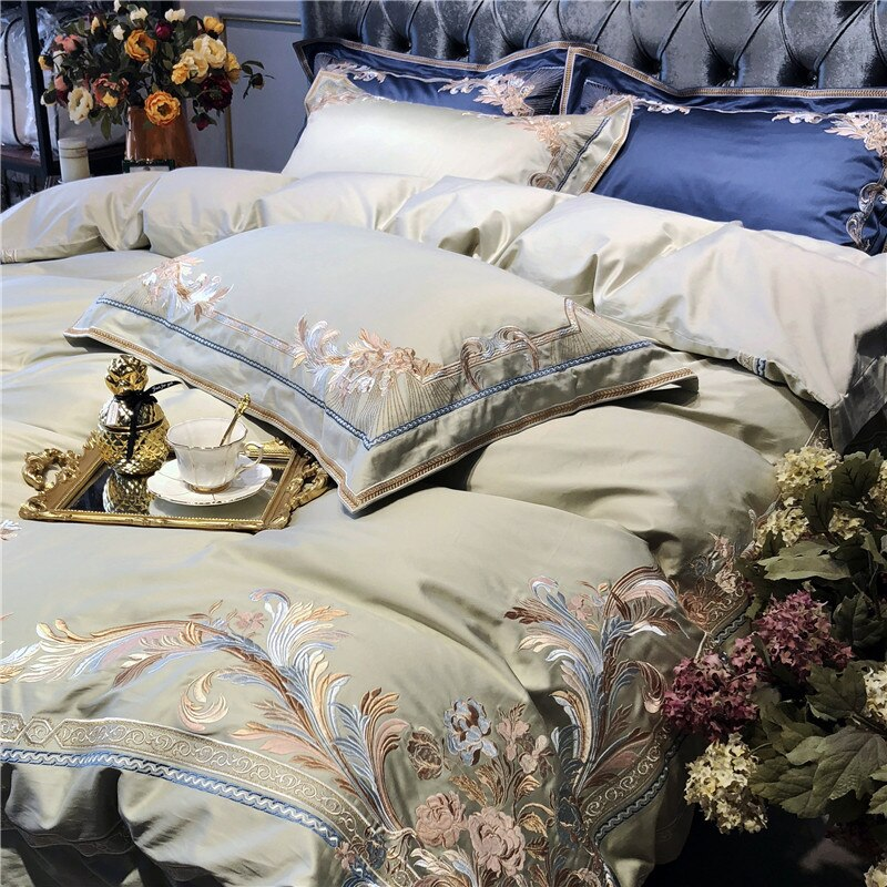 Luxury Embroidery Cotton Bedding Set Duvet Cover Bed sheet