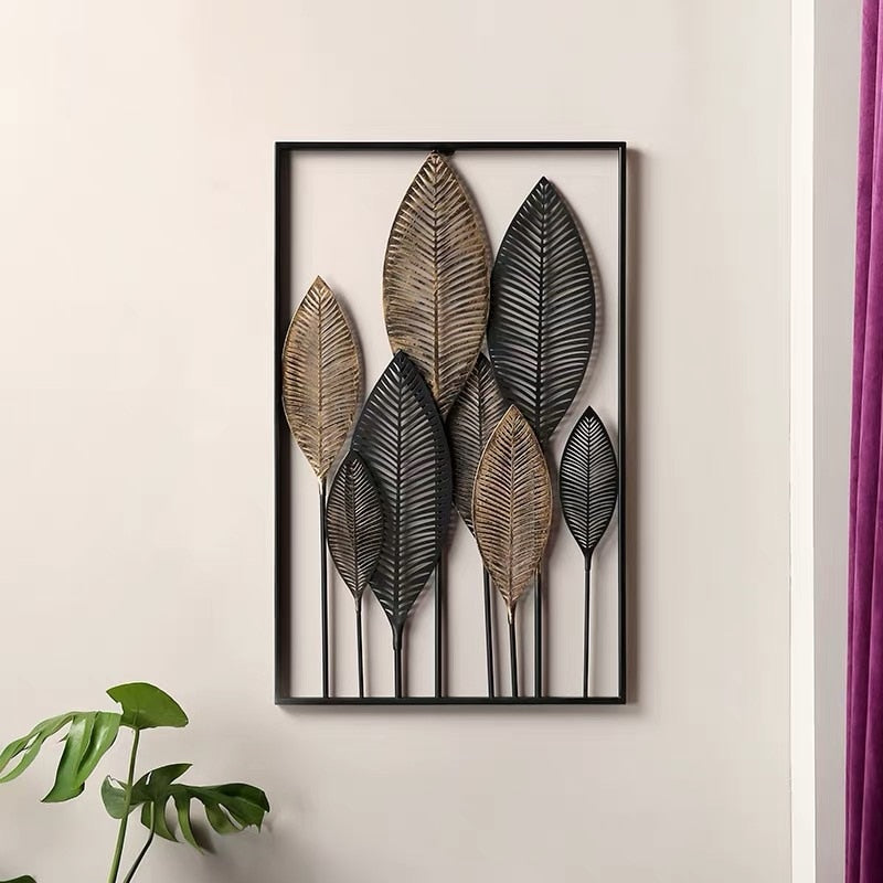Wrought Iron Leaves Wall Decoration