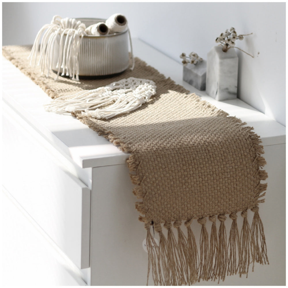 Retro Hand Woven Cotton Linen Carpet Tassel Rug Floor Mat Home Decor