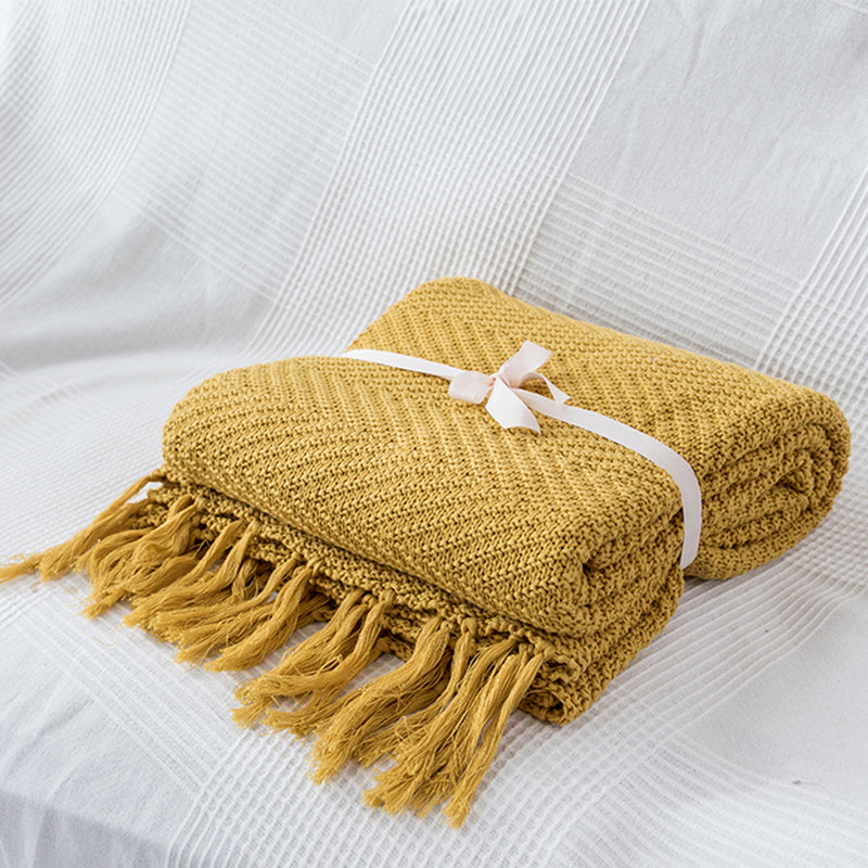 Mustard Yellow Tassels Blanket Sofa Knit Throw Blanket